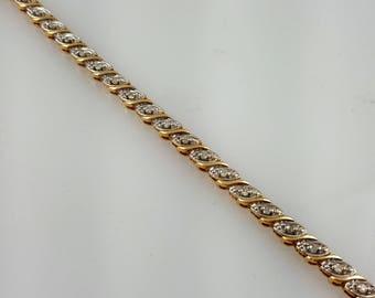 "Vintage 10K Gold Diamond Tennis Bracelet - Diamond Bracelet - Diamond Tennis Bracelet - Solid Gold Bracelet 10K Yellow Gold Bracelet 7 1/2"""