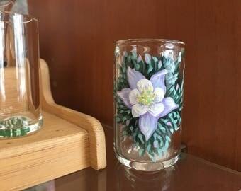 Blown glass shot glass columbine flower