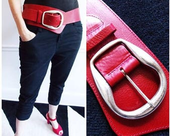 European red leather belt/ large buckle belt / Belgium Scapa designer belt