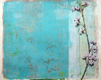 Willow blossom II - original mixed media on paper by Ingrid Blixt