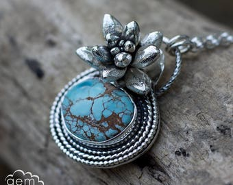 Sterling silver Succulent and Hubei Turquoise necklace - Prudence collection -