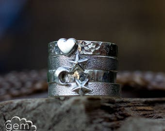 Sterling silver heart, moon and star ring - Token ring -