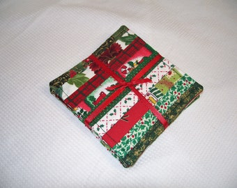 Christmas Fabric Coasters, Set of 4, Red and Green, Quilted, Reversible, Mug Rug