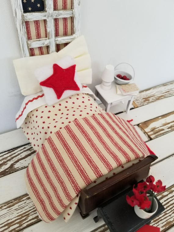 Miniature Americana  Red and Cream Bedding only- Fits miniature dollhouse single bed  1:12 scale