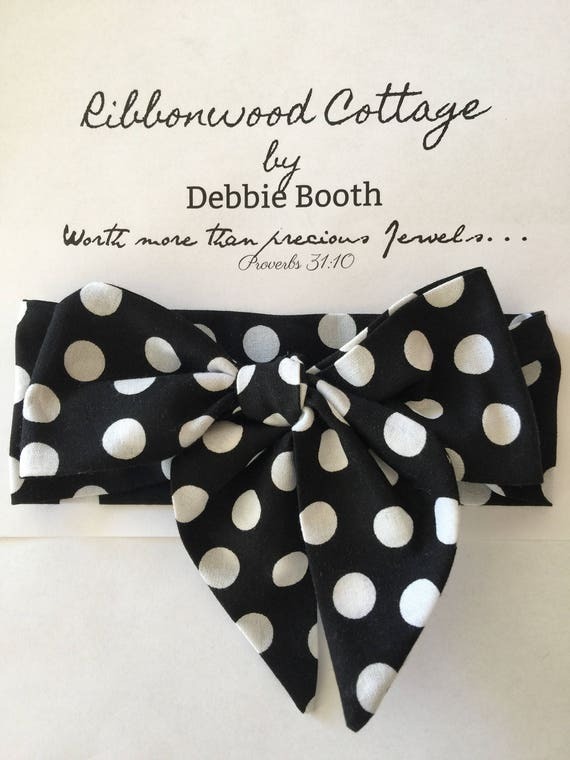 Baby Headwrap- Black with White Polka dots
