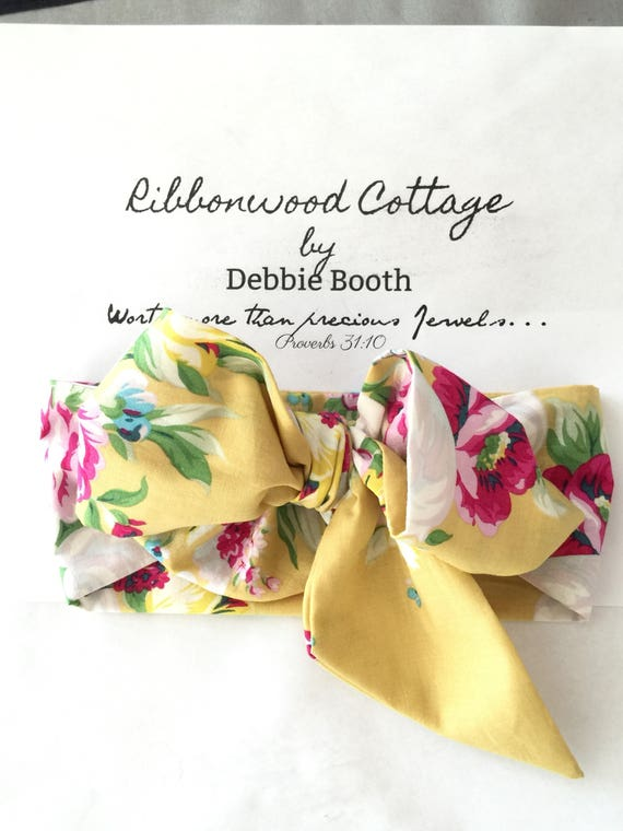 Baby Head Wrap Headband- Yellow and Pink Roses Floral by Jennifer Paganelli