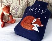 Sleeping fox cub personalised hot water bottle cover - scandi fox - woodland nursery- scandi nursery - gift for animal lover - fox gift