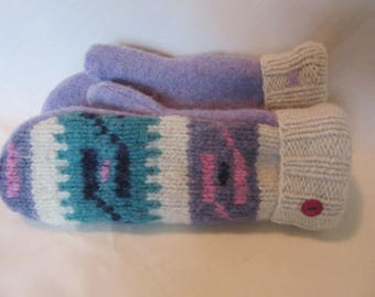 Thick Wool Sweater Mittens - Womens