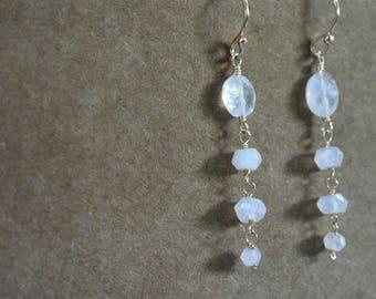 rainbow moonstone earrings. hand linked moonstone earrings.  moonstone dangle earrings. soft white moonstone earrings. moonstone jewelry