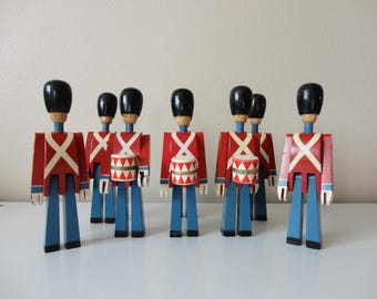 VINTAGE collection of 8 kay bojesen denmark WOODEN toy SOLDIERS - sold as found