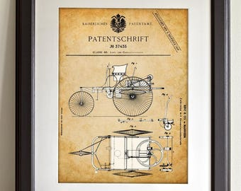 1886 Mercedes - 11x14 Unframed Patent Print - Great Gift for Car Lovers