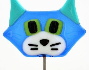 Glassworks Northwest - Cute Cat Plant Stake Blue - Fused Glass Garden Art