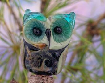 Errol........ lampwork owl bead............ sra