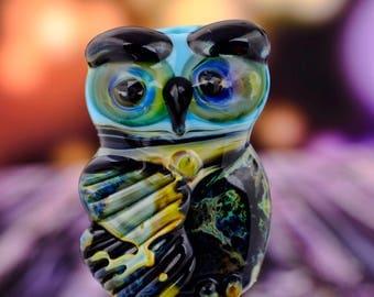 Lars....... lampwork owl bead............ sra