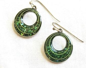 Vintage Dark Green Confetti Eameld Circle Earrings