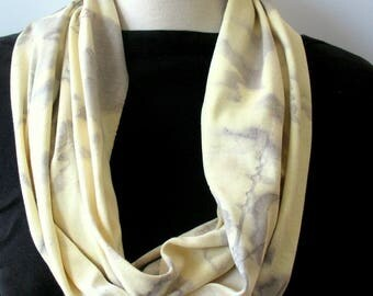 Eco Print Cotton Infinity Scarf Natural Dyed Tumeric Scarf