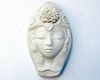 White Tara Ceramic Goddess Face Kwan Yin Quan Yin Buddhist Lady Face Tibetan Buddism Sculpture Art