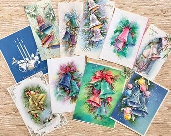 10 Vintage Bell Christmas Cards, Christmas Bells, Candles, Midcentury Cards, 1940s-1960s Bells Christmas Cards: Soft Set