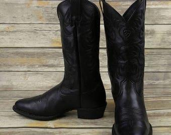 Mens 11 D Cowboy Boots Ariat Mens Black Leather Western Steampunk Biker Shoes