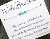 Wish Bracelet - Available In Over 100 Different Colors!!!  (Mixed Aqua Crystals & Silver Beads)