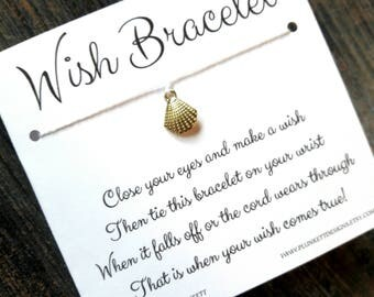 Wish Bracelet - Available In Over 100 Different Colors!!!  (Golden Seashell Charm)