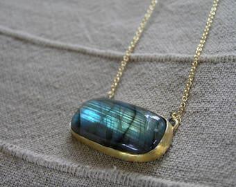 Large Labradorite Necklace. Gold plated Sterling Silver Labradorite Necklace with Gold Filled Chain. Blue Flash Labradorite