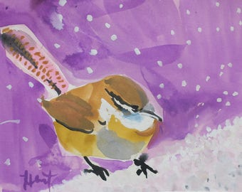South Carolina Wren - watercolor - gouache - winter watercolor - low country - South Carolina - snow - birder - bird watching - collectible