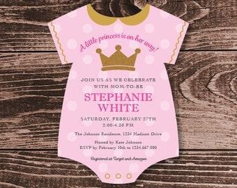 Princess Onesie Baby Shower Invitation Die Cut - DIY Printable Personalized - Baby Girl (Digital File)