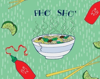 Pho Sho Fabric - Vietnamese Noodle Soup On Green By Ashley Mason - Pho Food Kitchen Decor Cotton Fabric By The Yard With Spoonflower
