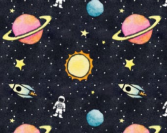 Outer space kids etsy for Outer space fabric by the yard