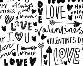 Love Fabric - Doodle Love Typography Love Fabric Valentines Day Bw By Andrea Lauren - Love Cotton Fabric By The Yard With Spoonflower