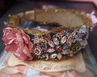 Royal wedding headband, Boho bead embroidery headband with Swarovski crystals, vintage lace Tiara wide headband, bridal hair jewelry