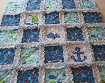 Nautical Anchor Whale Ocean Ship Minky Backing Baby Boy Rag Quilt Blanket Baby Shower Gift Crib Blanket Stroller Quilt Octopus Boat