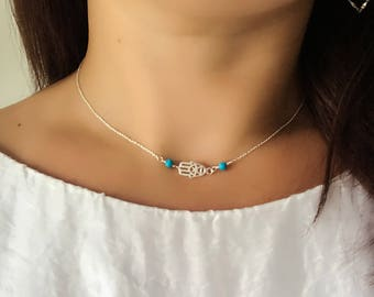 Hamsa Hand and Turquoise Choker Necklace in Sterling Silver - Hand of Fatima Choker