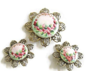 SALE Handpainted Filigree Brooch and Earrings Set signed Soft Pink, Green and Red Roses Floral Vintage