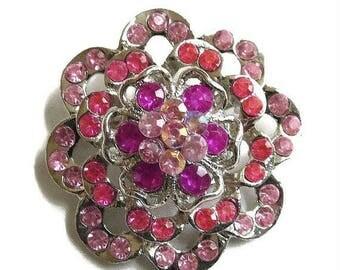 SALE Pink and Fuchsia Rhinestone Flower Brooch Vintage Layered