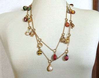 Joan Rivers Egg Charms Necklace Vintage with 24 Eggs
