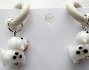 White Doggies non-pierced Rubber Earrings pr