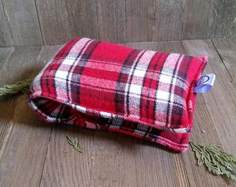 Aromatherapy Neck Pillow Flax Seed Organic Lavender Heating Herbal Therapy Wrap Microwave Heating Pad Flannel Red White Plaid Free Shipping