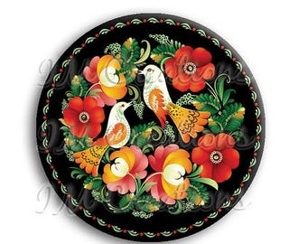 "20% OFF - Russian Birds Pocket Mirror, Magnet or Pinback Button - Wedding Favors, Party themes - 2.25"" MR509"