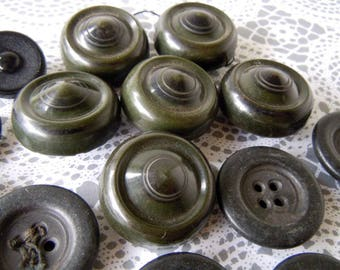 Vintage Black Chunky Sewing Buttons Lot Coat Buttons