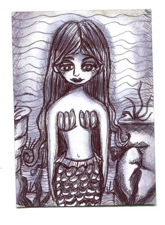 mermaid sketch Aceo drawing ORIGINAL illustration art ink  art ACEO art card ATC artist trading card