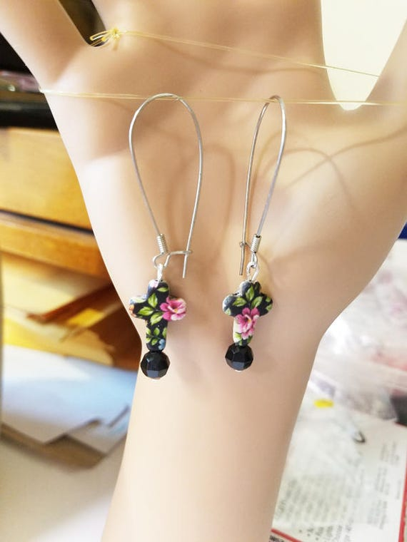 handmade black floral cross earrings clay earrings charm bead drop long dangles handmade religious ewelry
