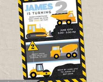 Construction Birthday Party Invitation - Printable Digital File
