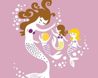 """SUMMER SALE 8X10"""" mermaid mother and triplet girls. giclee print on fine art paper. lilac purple, gray, brunette, blonde."""