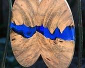 Sky Blue Buckeye Burl And Blue Resin Earrings