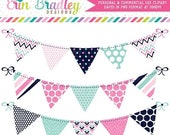50% OFF SALE Digital Bunting Clipart Graphics Preppy Pink Aqua & Navy Blue Polka Dots Stripes Chevron Patterns Commercial Use Banner Flags