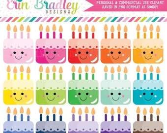 50% OFF SALE Kawaii Cakes Clipart Cake Clip Art Graphics Dessert Clipart Birthday Party Clip Art
