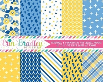 50% OFF SALE Yellow and Blues Digital Paper Pack Personal & Commercial Use Digital Scrapbook Paper Floral Patterns Plaid Triangles Stripes