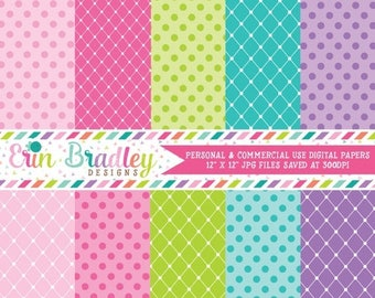80% OFF SALE Princess Party Digital Paper Pack Personal & Commercial Use Polka Dots and Diamond Patterns Instant Download